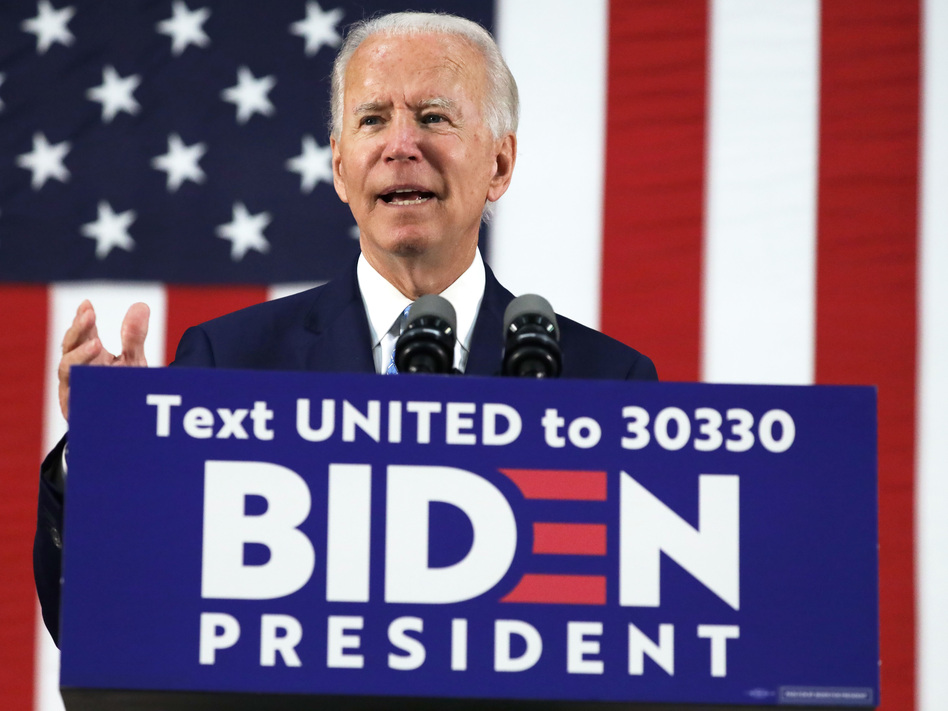 Presumptive Democratic presidential nominee Joe Biden harshly criticizes President Trump's response to the coronavirus pandemic in remarks Tuesday at Alexis duPont High School in Wilmington, Del. (Alex Wong/Getty Images)