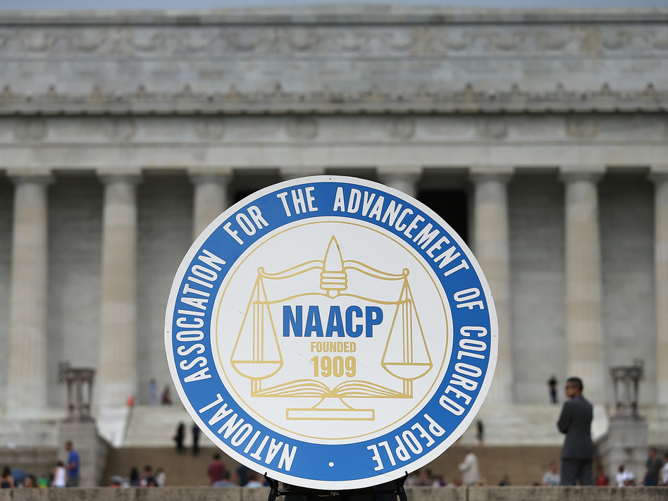 The NAACP is planning to relocate its headquarters to Washington, D.C. Here, the civil rights organization's logo is shown during a 2015 event in the city. (Win McNamee/Getty Images)