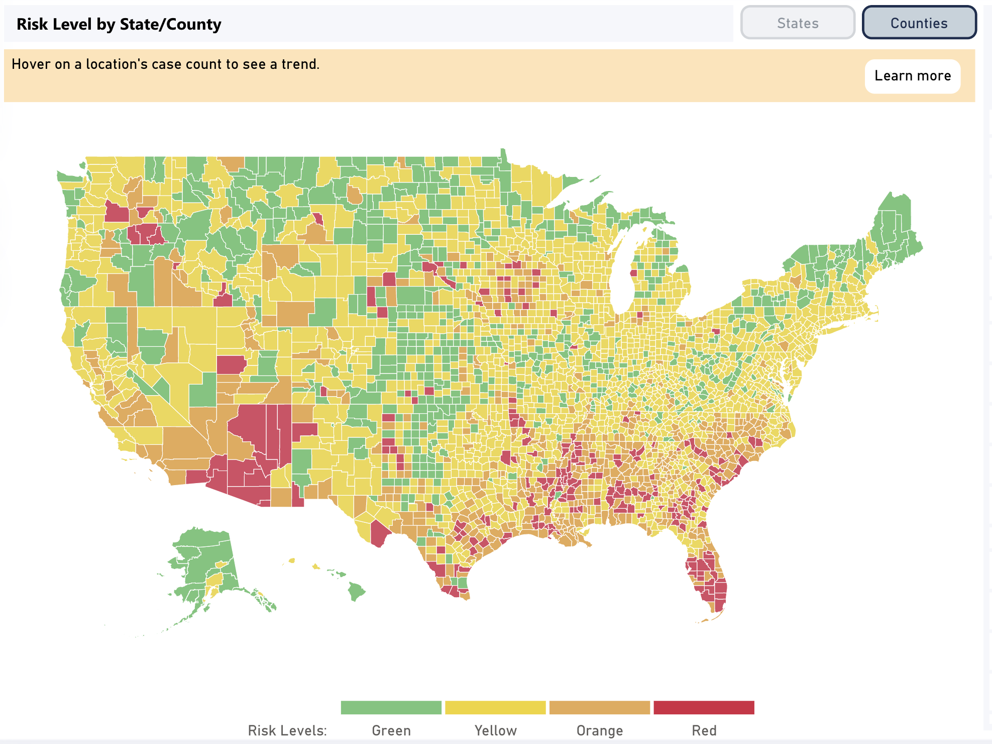 Where Are Coronavirus Cases Getting Worse Explore Risk Levels County By County Shots Health News Npr