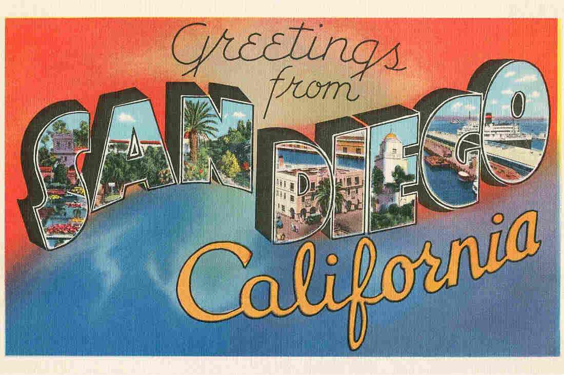 'Greetings from San Diego, California' large letter vintage postcard, 1930s. (Photo by Found Image Holdings/Corbis via Getty Images)