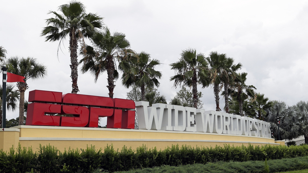A sign marks the entrance to ESPN