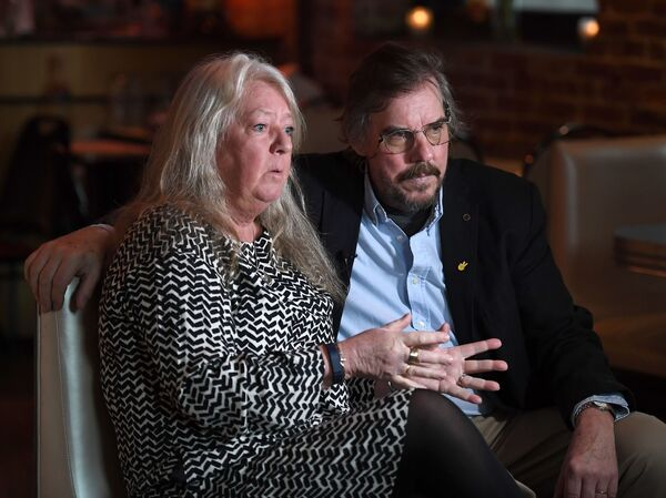 Ingrid Wall and Joachim Wall, parents of murdered journalist Kim Wall, are interviewed at the inaugural grant ceremony for The Kim Wall Memorial Fund at Superfine on March 23, 2018 in New York City.