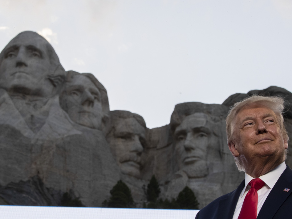 President Trump had little to say about the coronavirus pandemic during remarks Friday at Mount Rushmore National Memorial in South Dakota. (Alex Brandon/AP)