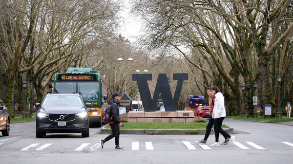 The Seattle campus of the University of Washington, pictured in March, is seeing a growing outbreak of COVID-19 cases among fraternity house residents this summer.
