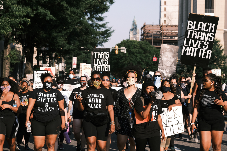 """Protesters gather for the Black Women Matter """"Say Her Name"""" march on July 3 in Richmond, Va. (Eze Amos/Getty Images)"""