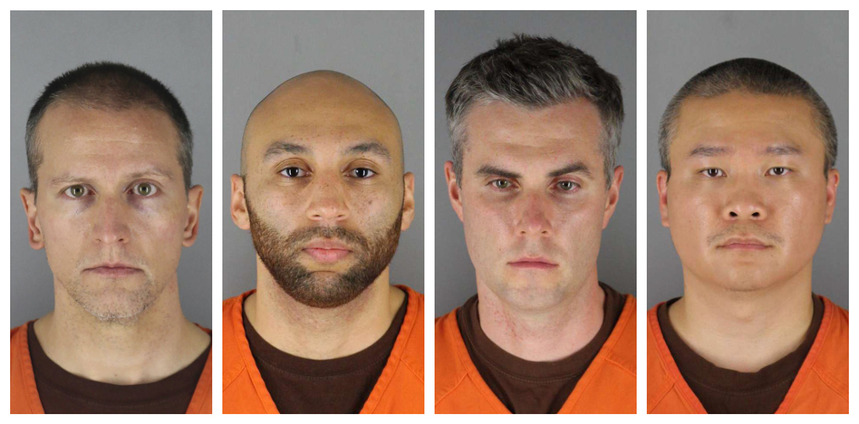 This combination of photos provided by the Hennepin County Sheriff's Office shows (from left) Derek Chauvin, J. Alexander Kueng, Thomas Lane and Tou Thao, the officers involved in George Floyd's death. (AP)