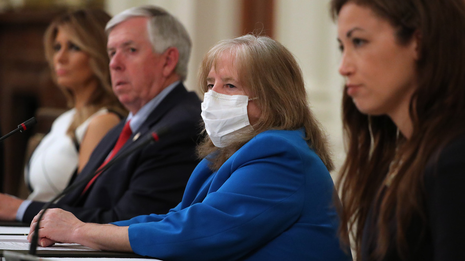 The president of the American Academy of Pediatrics, Dr. Sally Goza, attends a meeting at the White House with President Trump, students, teachers and administrators about how to safely reopen schools during the coronavirus pandemic. (Chip Somodevilla/Getty Images)