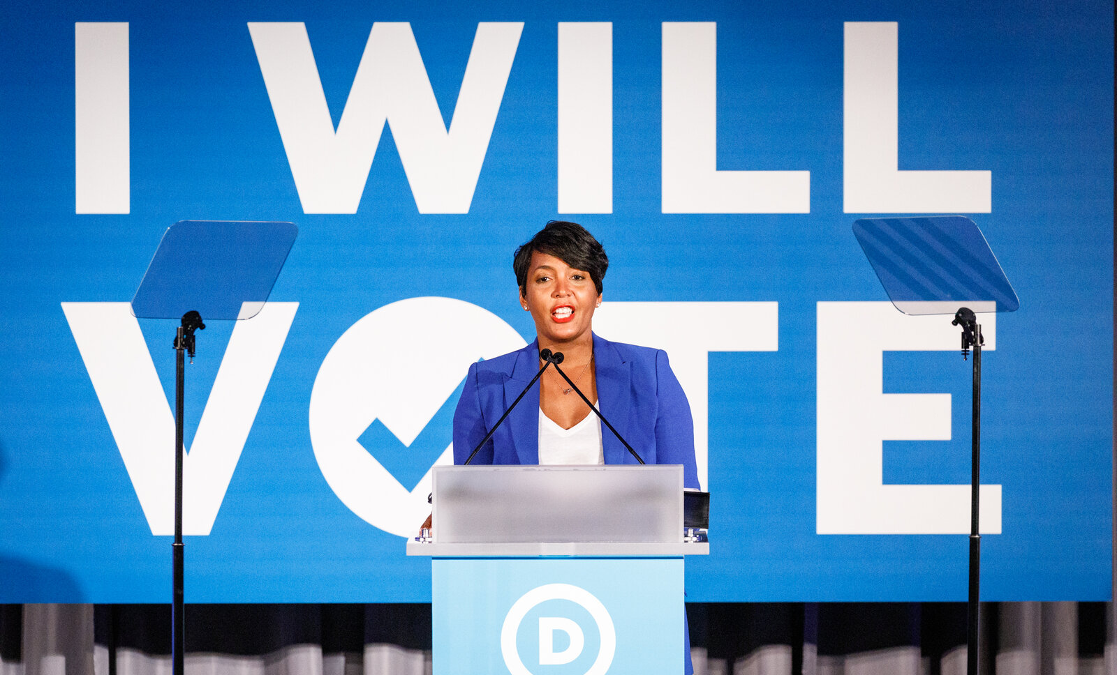 Atlanta Mayor Keisha Lance Bottoms addresses a Democratic National Committee event in June 2019 in Atlanta. The mayor is considered a contender for Joe Biden's vice presidential pick. Dustin Chambers/Getty Images