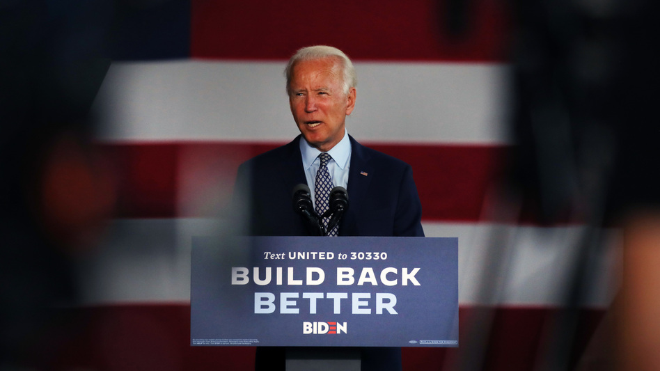 Presumptive Democratic presidential nominee Joe Biden discusses his economic policy Thursday at McGregor Industries in Dunmore, Pa. (Spencer Platt/Getty Images)