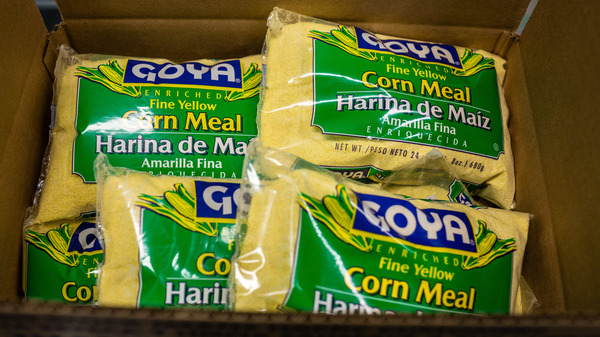 Packages of Goya Foods Inc. corn meal sit in a box at the company