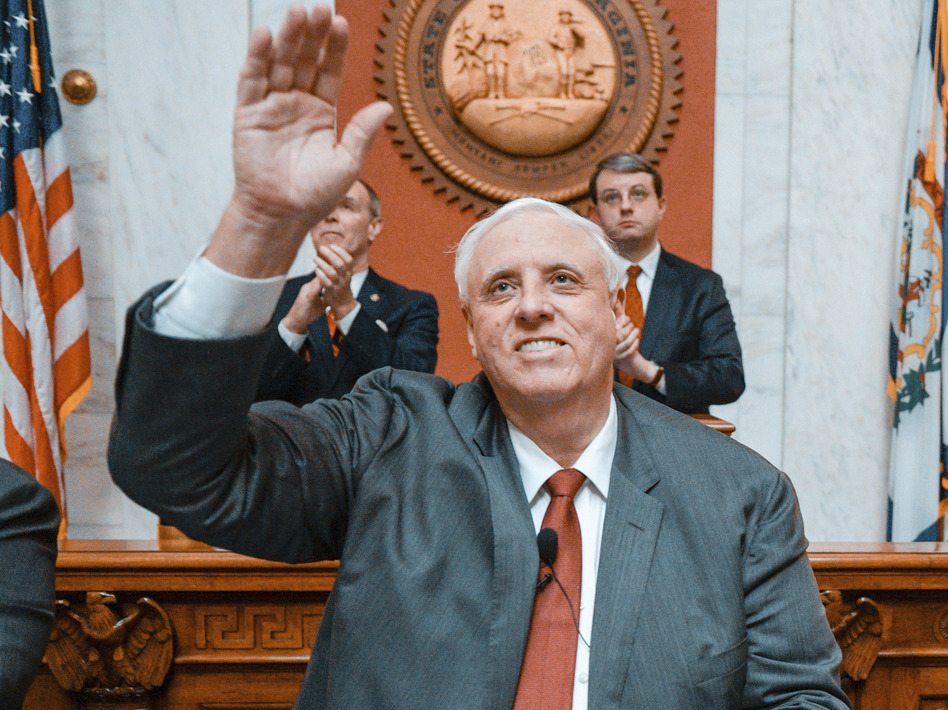 Gov. Jim Justice, W.Va., waves to the crowd at his annual State of the State speech on Jan. 9, 2019, in Charleston, W.Va. (Tyler Evert/AP)