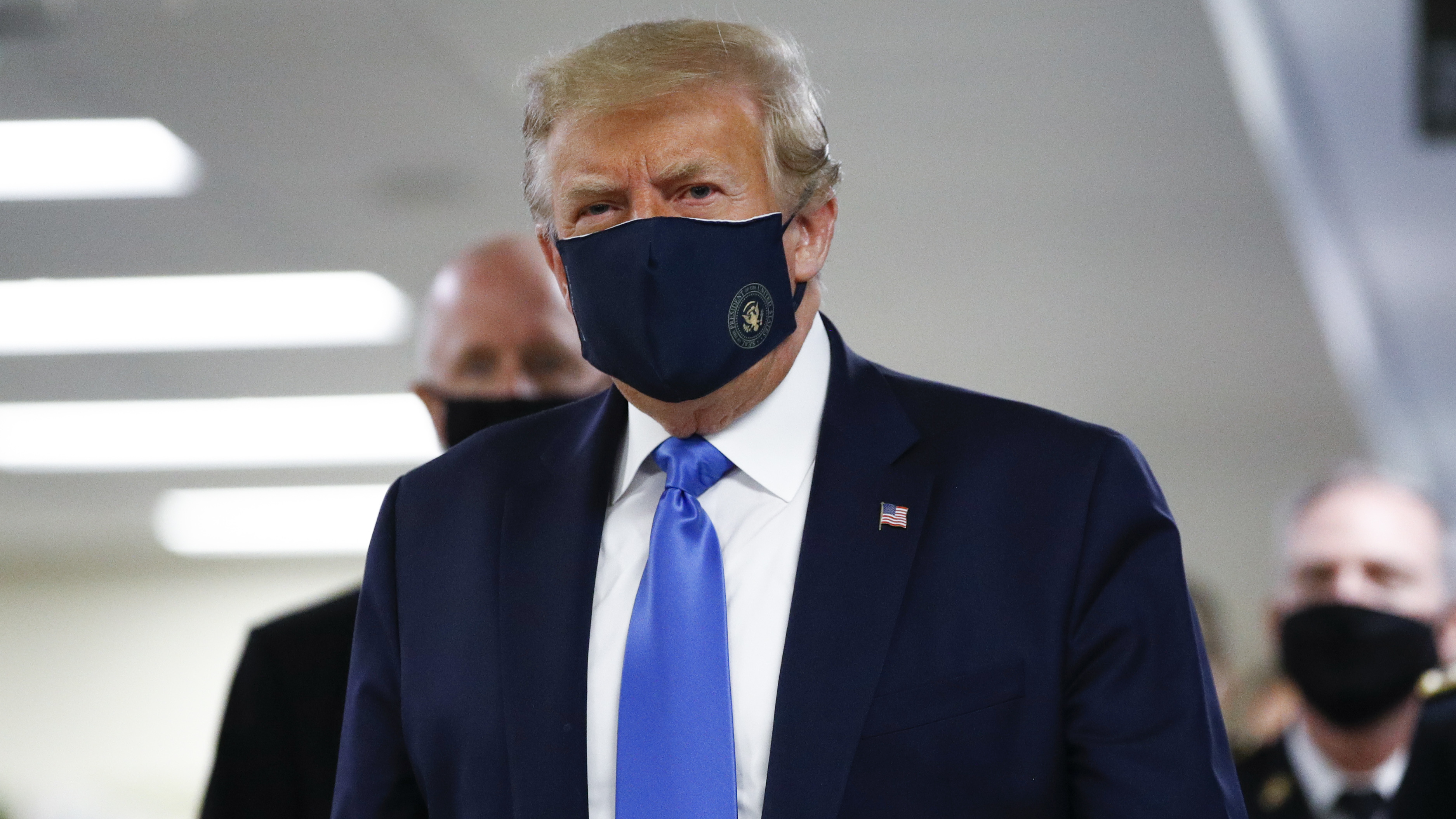 President Trump Wears Face Mask In Public For First Time During Visit To Walter Reed