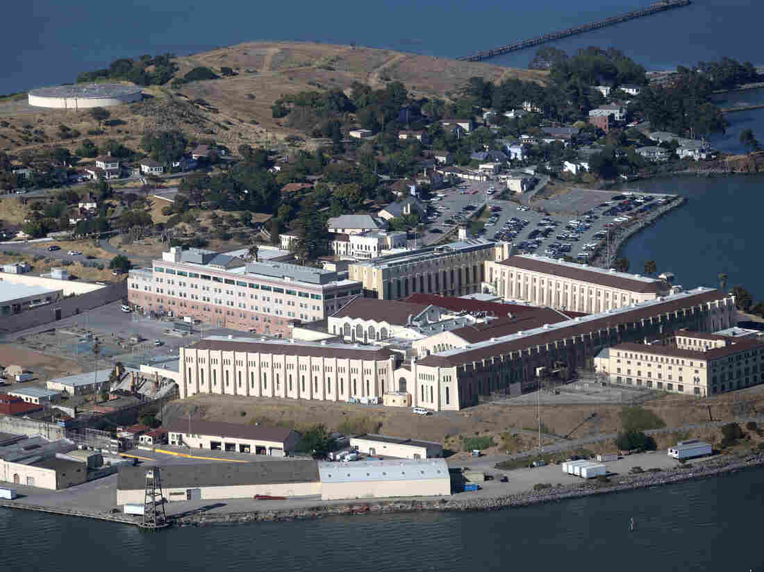 SAN QUENTIN, CALIFORNIA - JULY 08: An aerial view San Quentin State Prison on July 08, 2020 in San Quentin, California (Photo by Justin Sullivan/Getty Images)