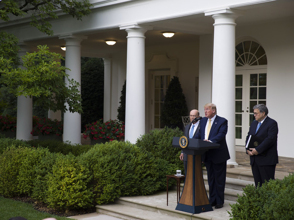 South Dakota has agreed to share driver's license and state ID records with the U.S. Census Bureau as part of efforts to carry out an executive order for citizenship data that President Trump announced in July 2019 with Commerce Secretary Wilbur Ross (left) and U.S. Attorney General William Barr in the White House Rose Garden.