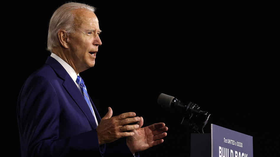 Presumptive Democratic presidential nominee Joe Biden details his $2 trillion climate proposal Tuesday at the Chase Center in Wilmington, Del. (Chip Somodevilla/Getty Images)