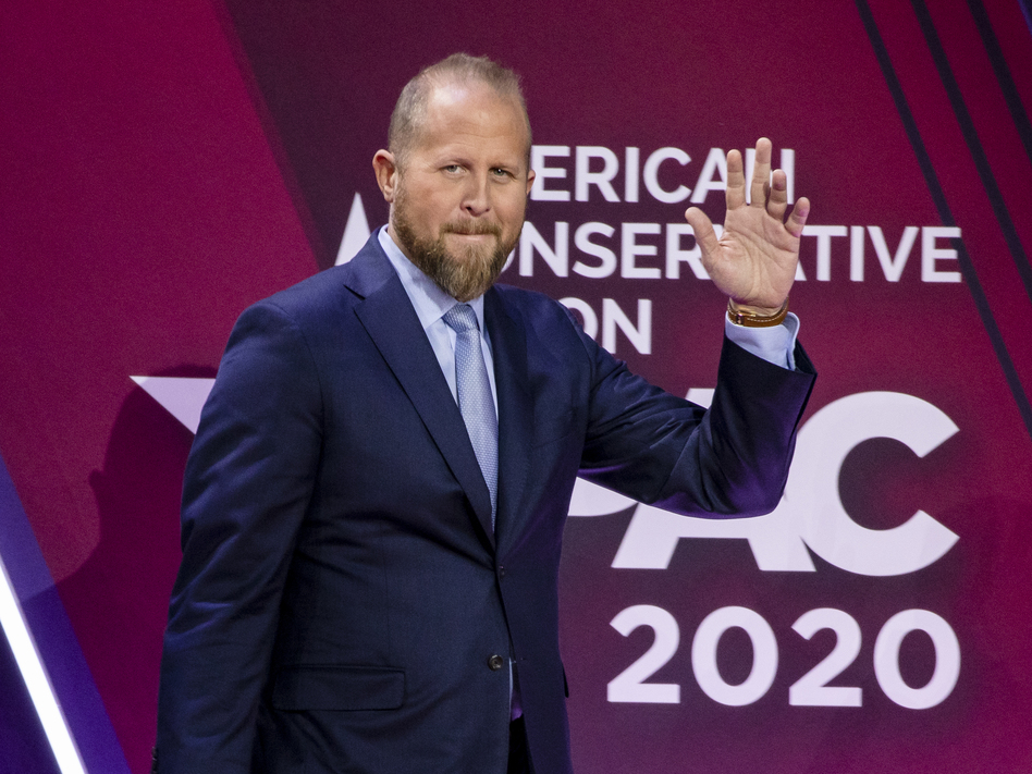 Brad Parscale on stage during the Conservative Political Action Conference 2020 in February. (Samuel Corum/Getty Images)