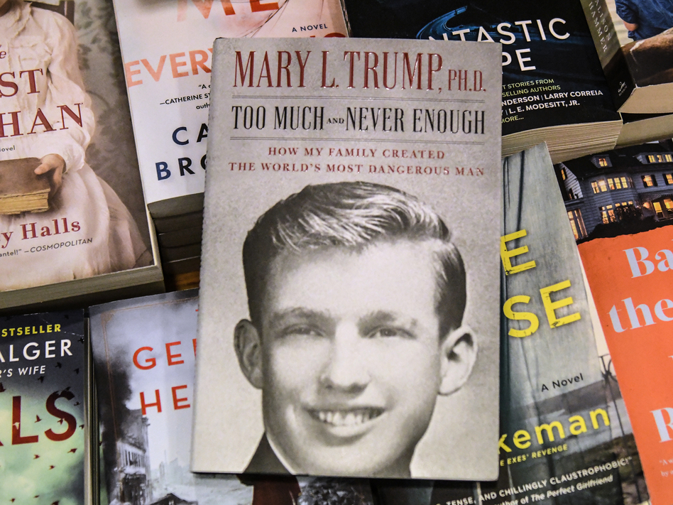 A display of Mary Trump's new book about her uncle. A judge freed President Trump's niece this week from a restraining order restricting her from discussing the book. (Stephanie Keith/Getty Images)
