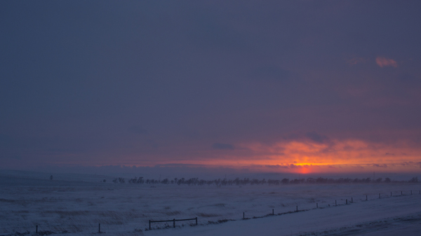 Sunset near a protest camp outside of the Lakota Sioux reservation of Standing Rock, North Dakota, in December 2016.