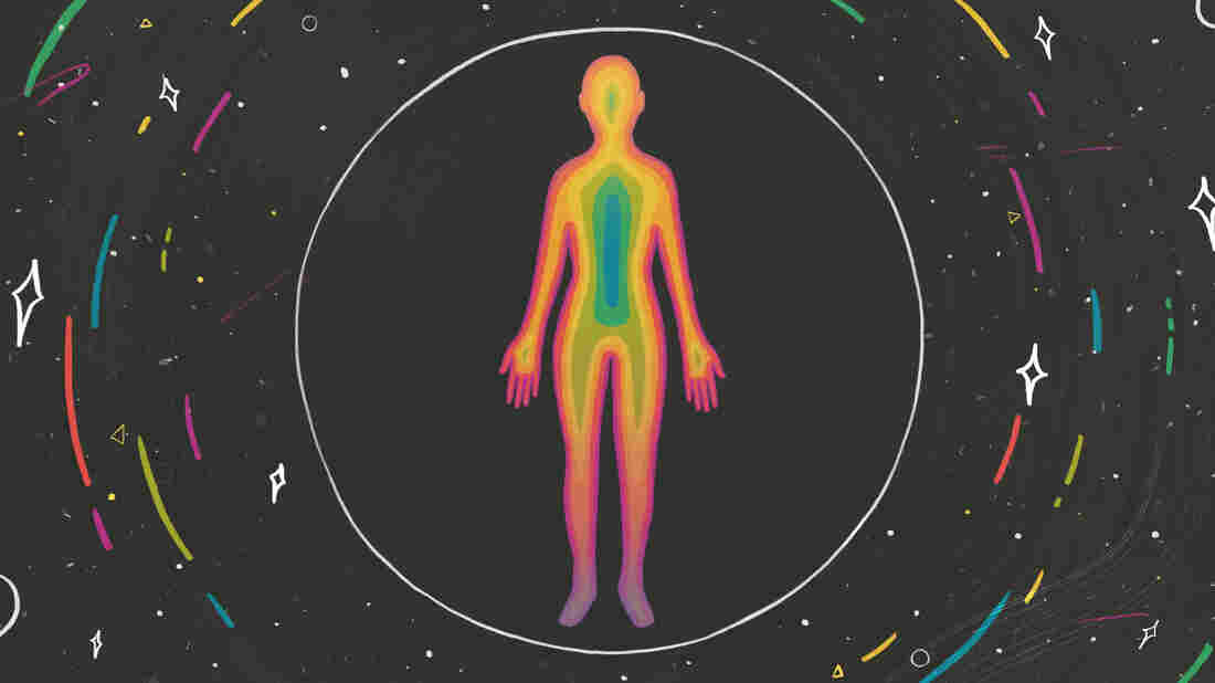 An illustrated outline of a person filled with rainbow colors stands alone in a circle, surrounded by a dark background with stars and colorful streaks circling outside of a sphere.