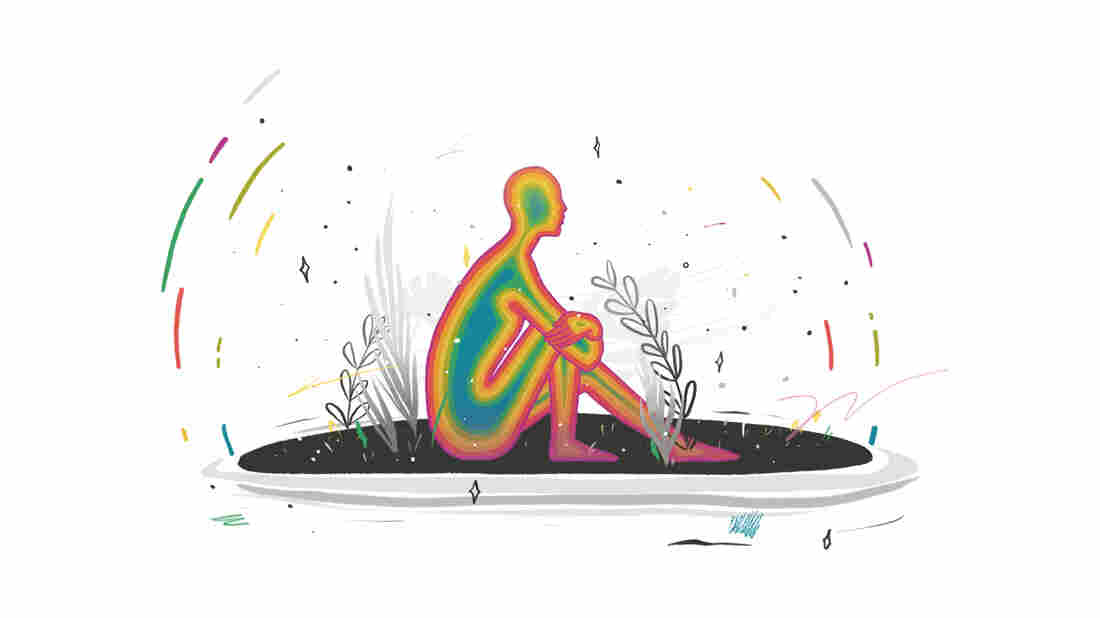 An illustrated outline of a person filed with rainbow colors is sitting down on an island against a white backdrop. Colorful streaks and stars surround the person.