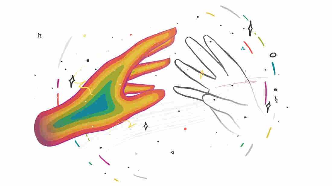 An illustrated hand filled with rainbow colors reaches out to the outline of another hand. They are against a white backdrop and are encircled by colorful streaks and stars.