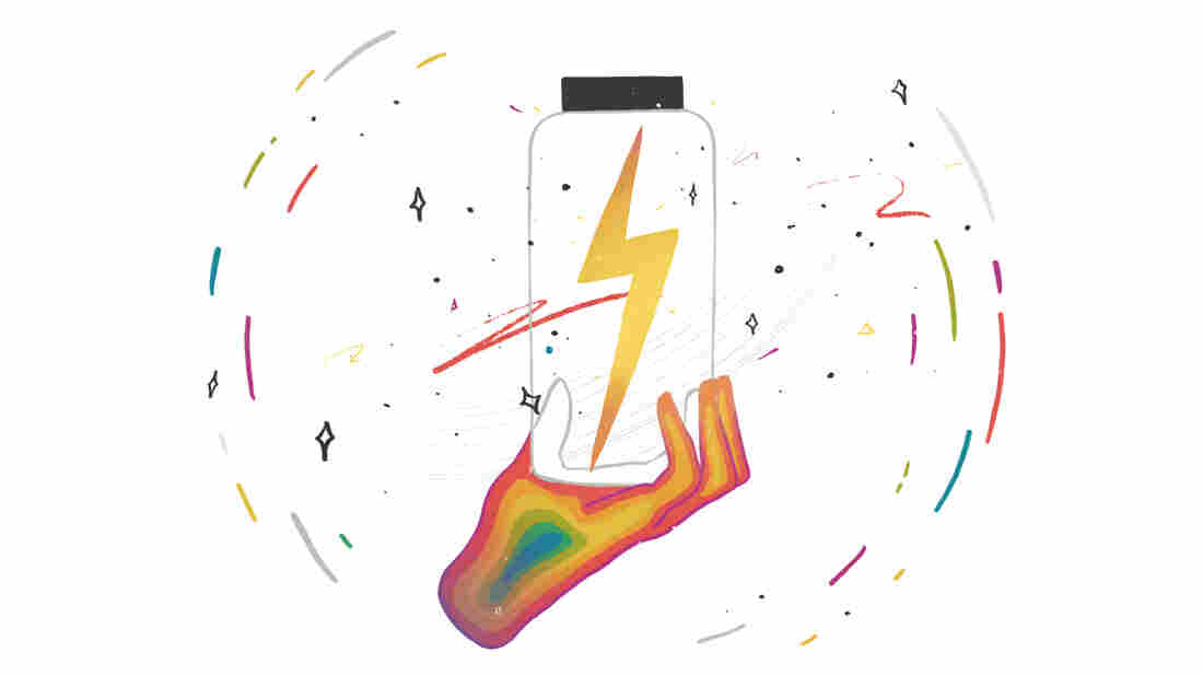 An illustrated hand filled in with rainbow colors holds a clear jar with a lightning bolt inside. The hand and jar are against a white backdrop and are encircled by colorful streaks and stars.