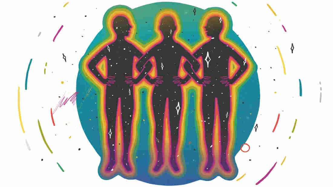 The outlines of three illustrated figures link arms. Their bodies are filled with the night sky and stars. They are encircled in a green and blue circle and surrounded by a white backdrop that has colorful streaks and stars creating a circle around the circle.