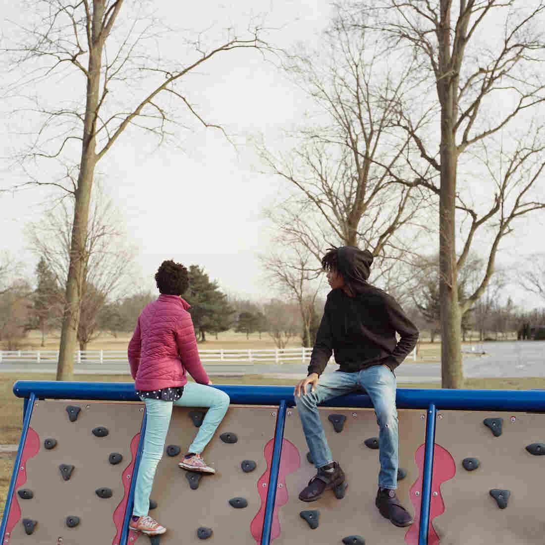 Thandi and Khaya at a playground.