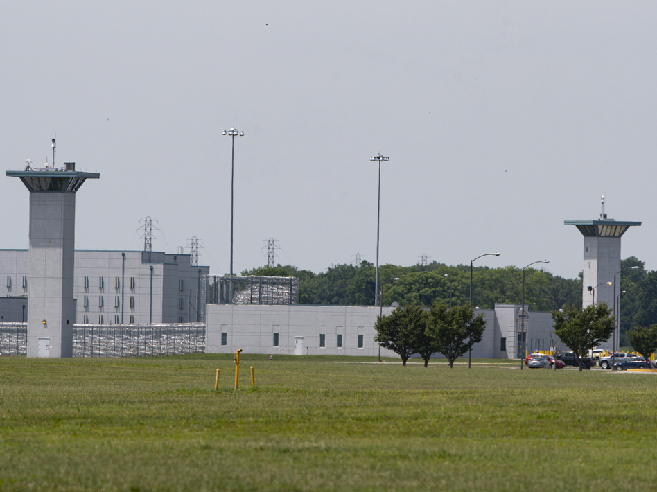 The entrance to the U.S. Penitentiary Terre Haute, Ind., is seen Wednesday. Wesley Purkey, convicted of the 1998 kidnapping and killing of a 16-year-old girl, was executed there Thursday morning. (Michael Conroy/AP)