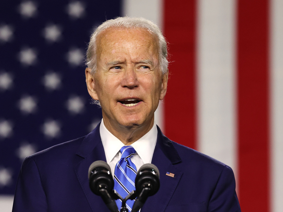 Presumptive Democratic nominee Joe Biden speaks Tuesday at the Chase Center in Wilmington, Del. (Chip Somodevilla/Getty Images)