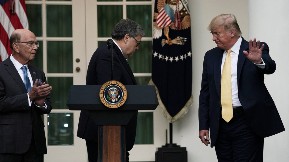 President Trump departs a July 2019 press conference on the census with U.S. Attorney General William Barr (center) and Commerce Secretary Wilbur Ross in the White House Rose Garden. (Alex Wong/Getty Images)