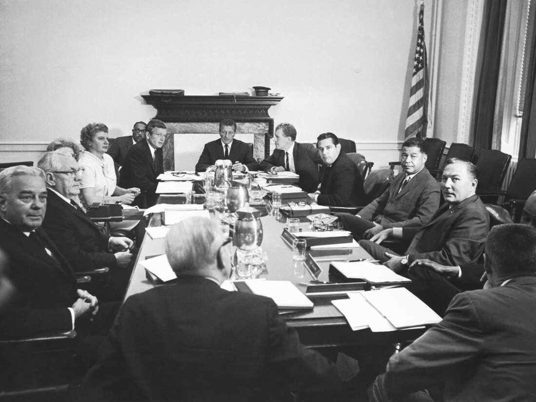 The Kerner Commission in session, Washington DC, 1967. Officially called the National Advisory Commission on Civil Disorders, it was created by President Lyndon Johnson to investigate the causes of the 1967 race riots in the United States and to provide recommendations for the future.
