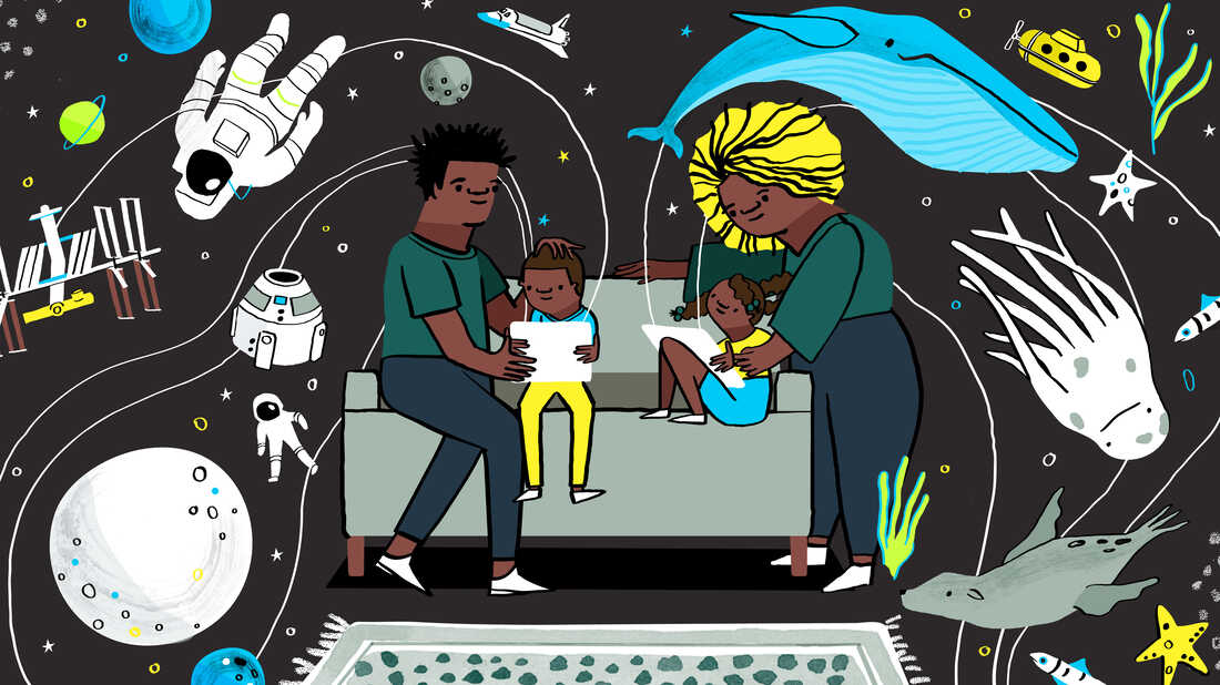Two children sit on a couch holding screen devices. One adult helps each of them, looking over their shoulder at the screen as streams of stars and spaceships and underwater creatures pour out of the devices and into the living room.