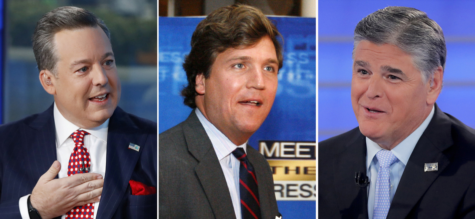 Former Fox News anchor Ed Henry (from left) and high-profile hosts Tucker Carlson and Sean Hannity are all named in a lawsuit alleging different instances of sexual misconduct. (AP)