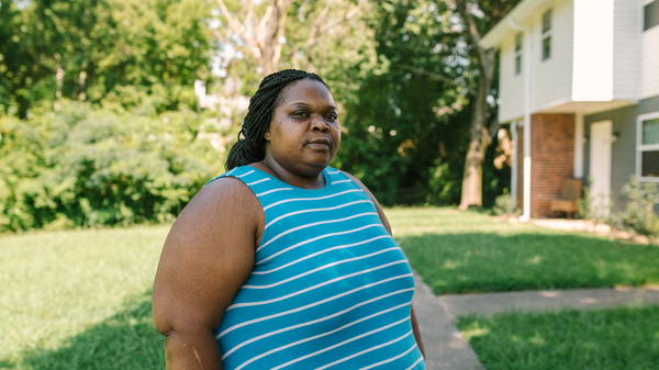 """West Atlanta resident Harriet Feggins has been out of work since March because of the pandemic. So far she has managed to pay her electric bill by scraping together odd jobs and dipping into her 401(k). """"I"""