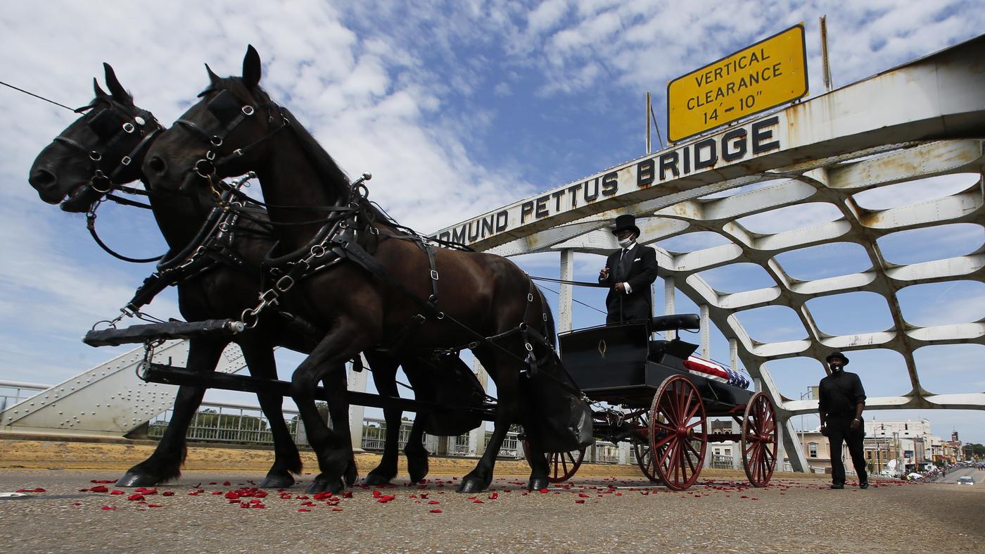 In Selma, A 'Final Crossing' For John Lewis Across The Edmund Pettus Bridge