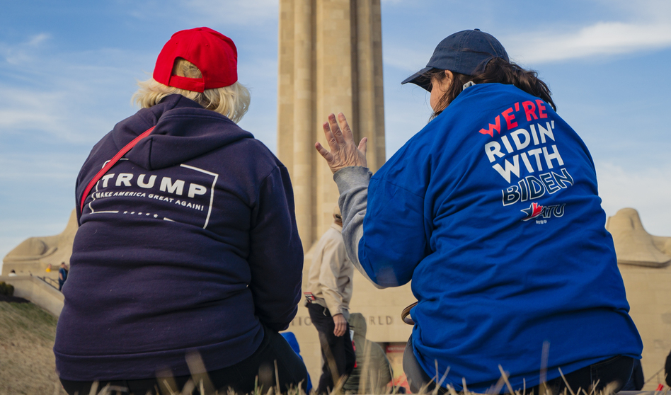 Supporters of President Trump and his Democratic challenger, former Vice President Joe Biden, talk in Kansas City, Mo. (Kyle Rivas/Getty Images)