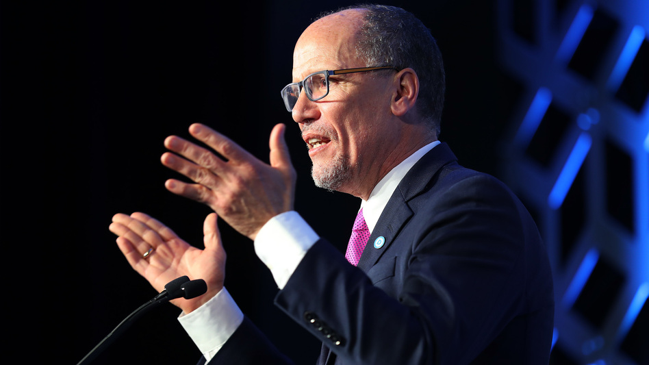 Tom Perez, Democratic National Committee chair, speaks during an event in February in Charlotte, N.C. (Joe Raedle/Getty Images)