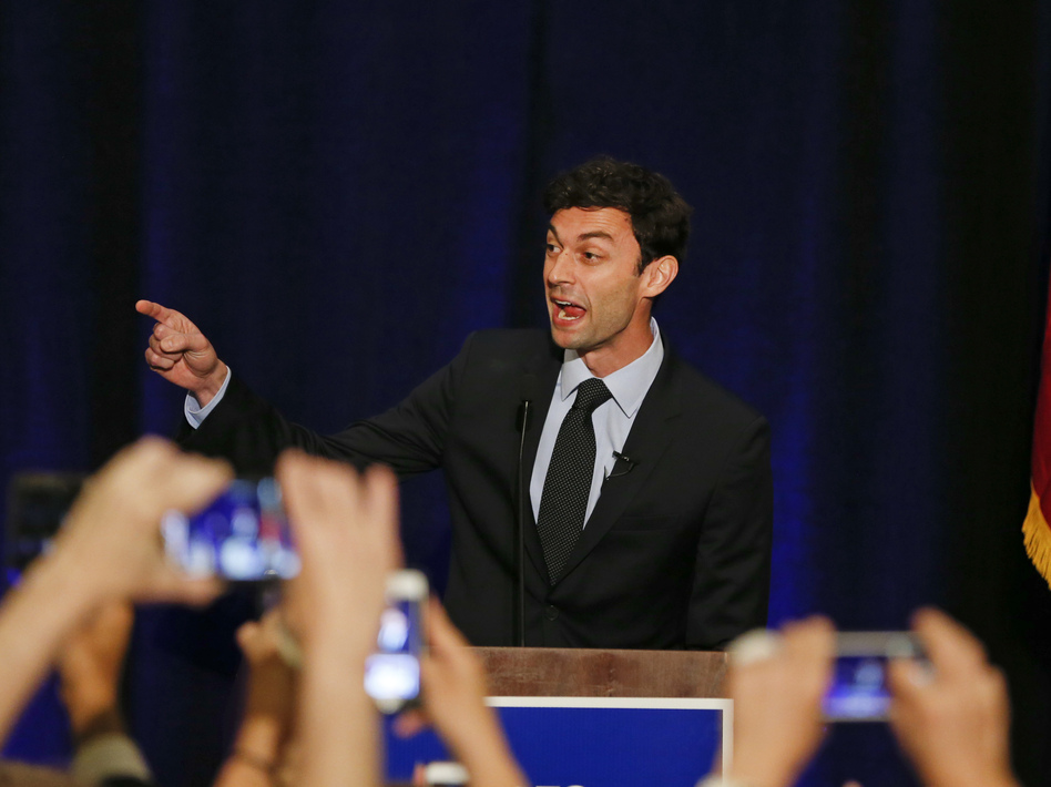 """Jon Ossoff, seen here in 2017, has criticized an ad by his Republican rival, David Perdue, as """"unbecoming of a sitting U.S. senator."""" (John Bazemore/AP)"""
