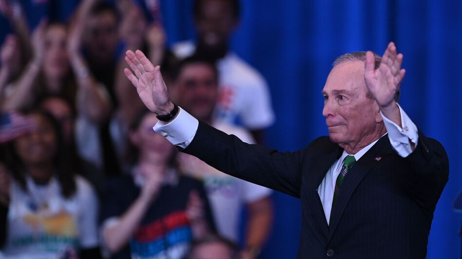 Mike Bloomberg, seen here speaking to supporters and staff in March in New York City, spent $1 billion of his own fortune to run for president but exited the race early on. (Johannes Eisele/AFP via Getty Images)