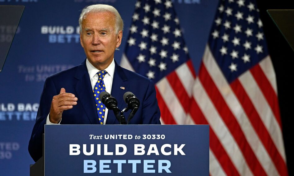 """Joe Biden, the presumptive Democratic presidential nominee, speaks during a campaign event at the William """"Hicks"""" Anderson Community Center in Wilmington, Del., on Tuesday. (Andrew Caballero-Reynolds/AFP via Getty Images)"""