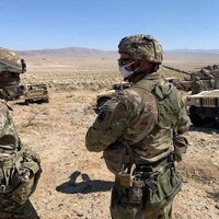 National Guard soldiers take part in desert training at Fort Irwin, Calif.