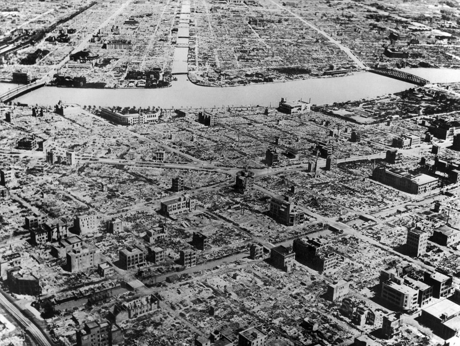 An aerial view of Tokyo shows destruction after American bombardment in 1945.
