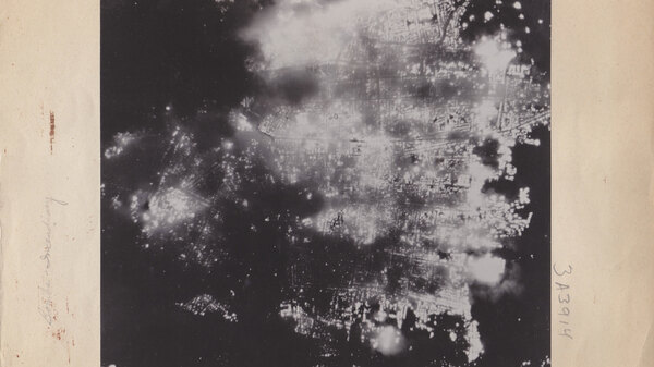 A photograph showing Toyama, Japan, aflame after the U.S. attack on Aug. 1, 1945. Most of the city