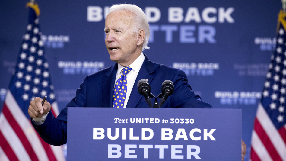 Democratic presidential candidate and former Vice President Joe Biden speaks at a campaign event in Wilmington, Del., on Tuesday. (Andrew Harnik/AP)