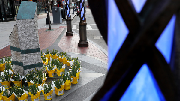 Flowers are placed at the memorial to the victims of the 2013 Boston Marathon bombings on April 20.