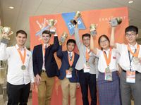 Gold medal winners Georgi Boshev, Ryan Catalfu, Ka Hei Chao, Kuan Hou Lei, Lai Tin Ming and Pak Hei Lee show off their trophies during the Pearson VUE Certiport Microsoft Office Specialist World Championship in 2016. The 2020 World Championships were cancelled due to the COVID-19 pandemic.