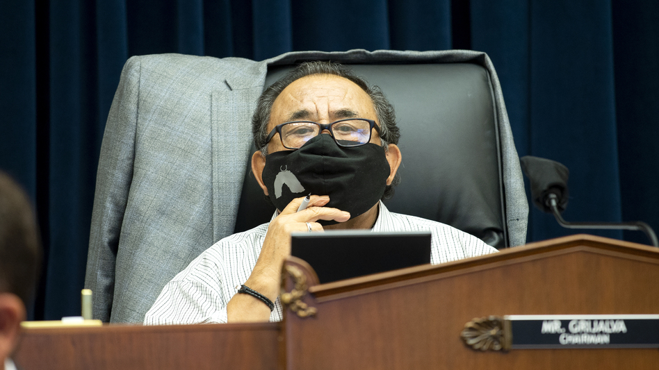 U.S. House Natural Resources Committee Chairman Raul Grijalva of Arizona presides over a hearing examining Park Police response to Lafayette Square protests on June 29 in Washington, D.C. Grijalva tested positive for COVID-19 on Friday. ( Bonnie Cash/Pool/Getty Images)