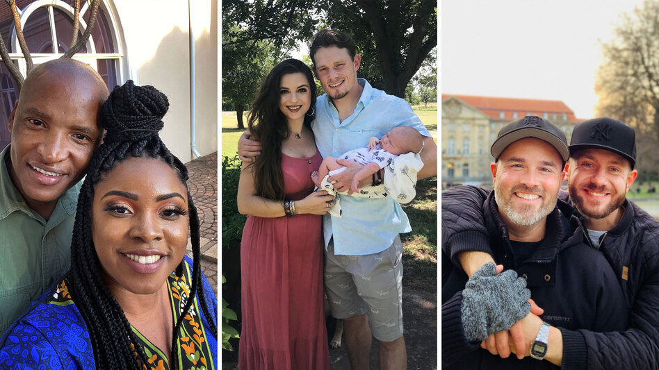 Thousands of couples have been separated by pandemic-related travel restrictions. Lots of them are unmarried. (Johannes Mahele and Joresa Blount; Corsi Crumple and Sean Donovan; Todd Alsup and Sebastian Pinde)