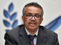 """World Health Organization Director-General Tedros Adhanom Ghebreyesus says that while some COVID-19 vaccine candidates have progressed to phase three testing, the world must remain reliant on """"the basics"""" of disease control. Tedros is seen here last month in Geneva."""